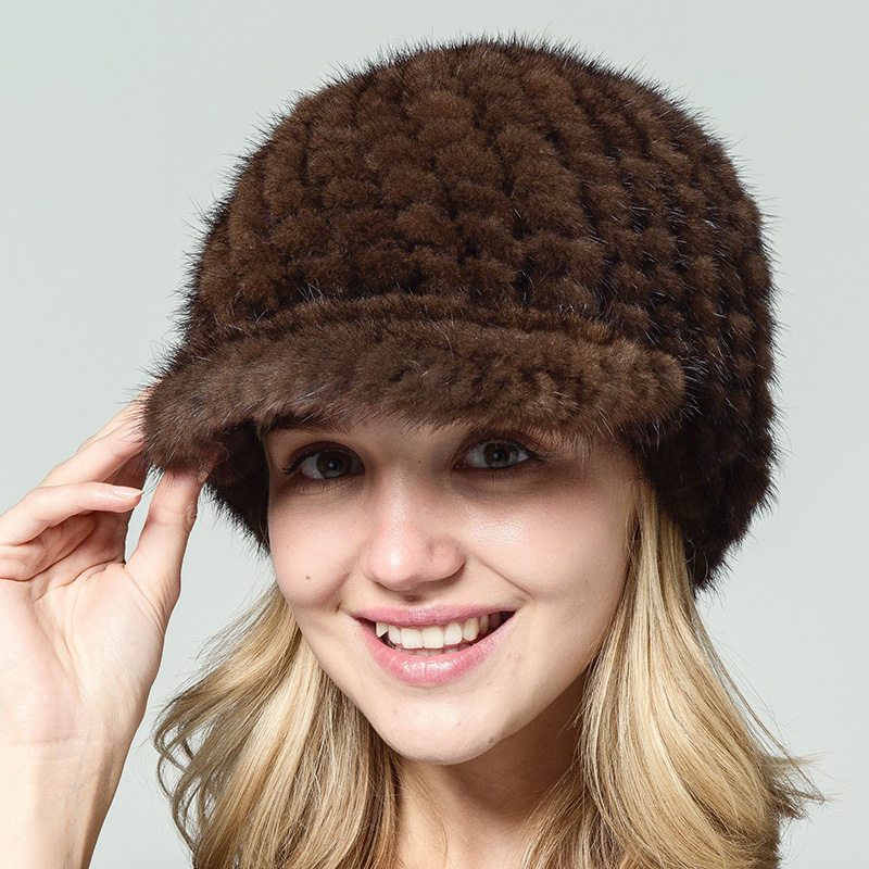 2017 originální čisté přírodní norky klobouky pro ženy zkosené vlákno dámský klobouk podzimní zima módní ztluštění černý malý okrajový klobouk