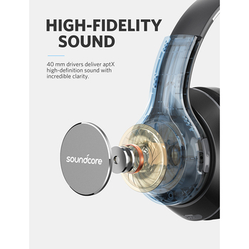 Anker Soundcore by Vortex Wireless Over-Ear Headphones with 20H Playtime Bluetooth 4.1 Hi-Fi Stereo Sound Memory-Foam Earmuffs 1