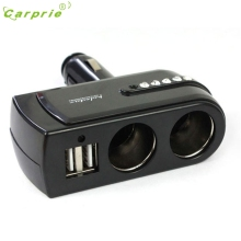 Dependable  New 2 USB Charger Supply + Double Sockets Car Cigarette Lighter Extender Splitter Mar21 starline a93 dropshipping