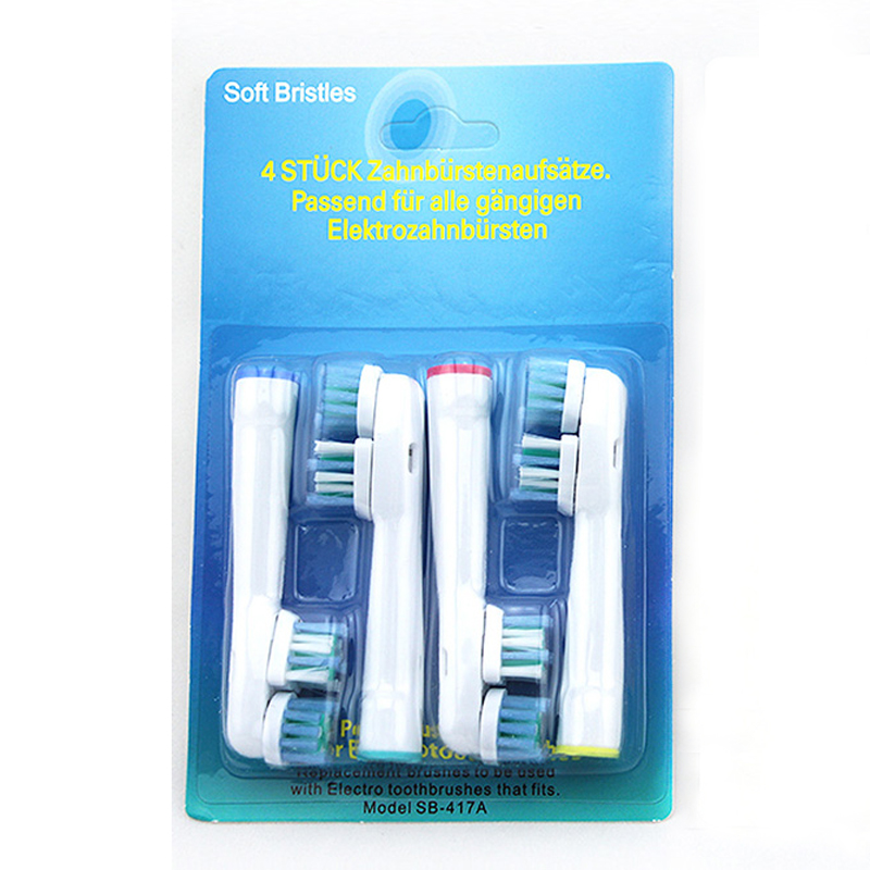 Replacement Dual Cleaning Electric Toothbrush Heads Fit For Oral B Electric Teeth Brush Pro 500, 1000, 3000, 5000 4 Pcs / Pack