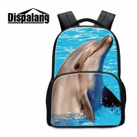 Dispalang 3D Zoo Animal College Student School Backpack Dolphin Print Children Schoolbags Lightweight Bagpack For Teenager