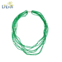 Lii Ji Natural Green Onyx Freshwater Pearl 8 Rows 925 Sterling Silver Clasp Shining Tiny Necklace