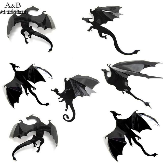 Nursery Bedroom Kids Ceiling Fun Bat Dragon Shape Wall Stickers
