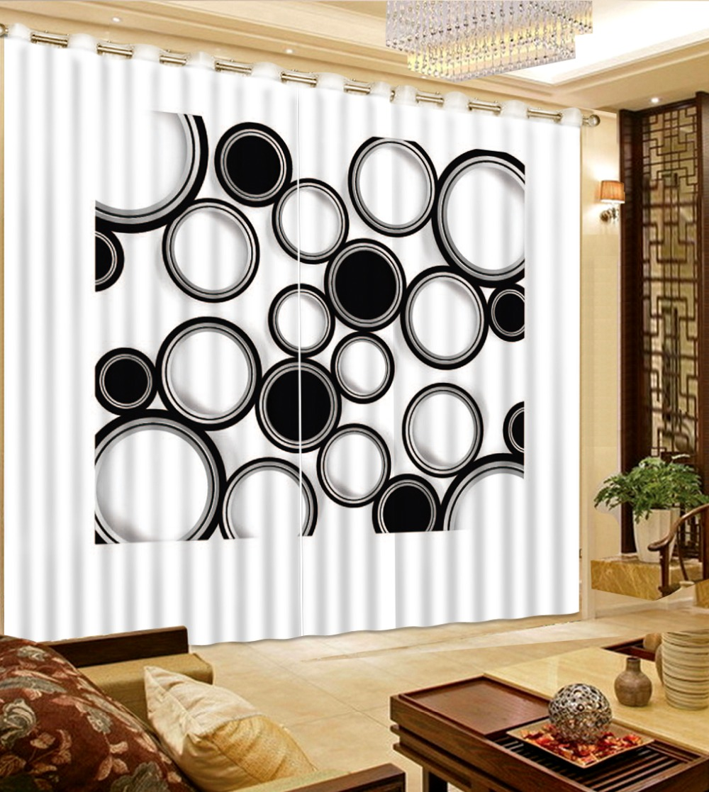 Modern Black And White Circle 3D Blackout Curtains Custom