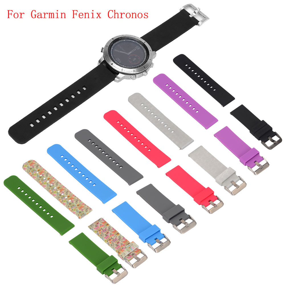 2018 New Watchbands 22mm for men busniess Replacement Silicagel Soft Band Strap For Garmin Fenix Chronos GPS Watch Straps 22mm woven nylon strap replacement quick release easy fit band for garmin fenix 5 forerunner935 approach s60