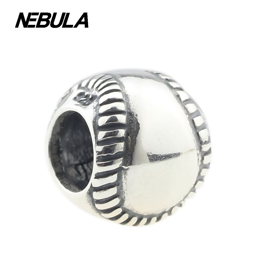 Genuine 925 Sterling Silver Sport Baseball Charms Bead Fit Pandora
