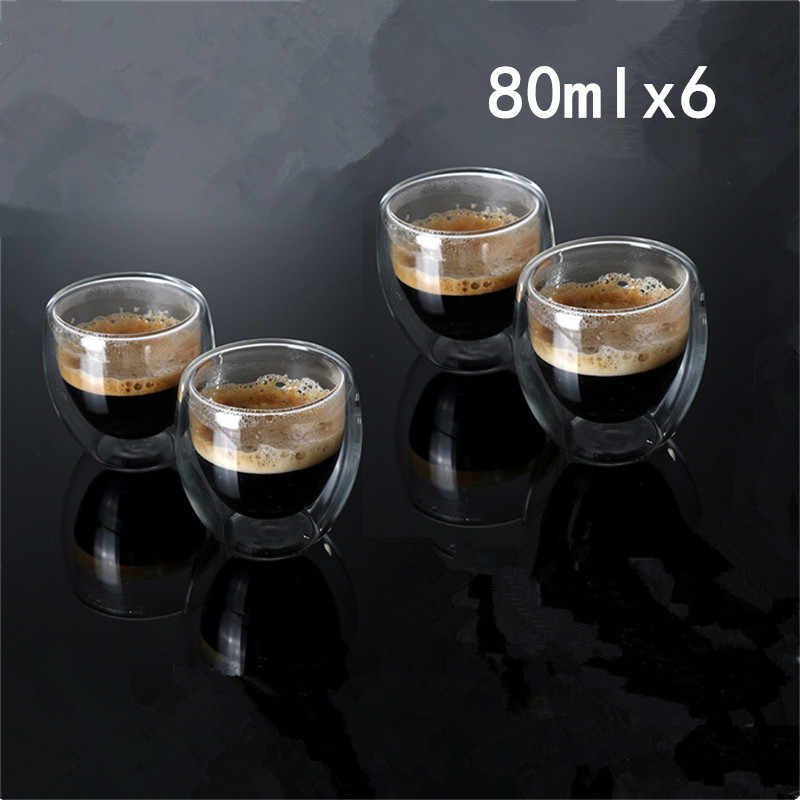 1/4/6PCS Double Wall Glass Cup Clear Resistant Handmade Mini Tea Mug Coffee Milk Juice Healthy Drink Double Layer Glass Mug