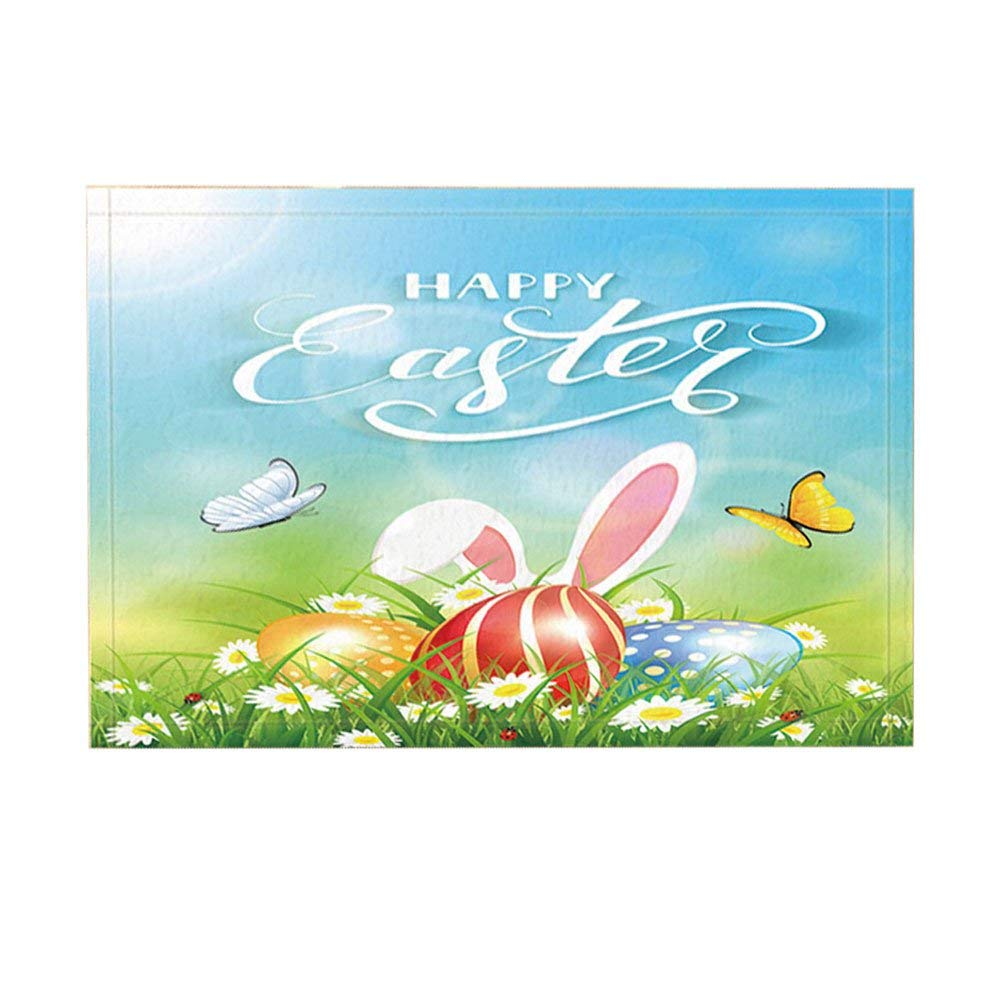 Non Slip Easter Theme Bath Rugs, Eggs With Rabbit Ears In
