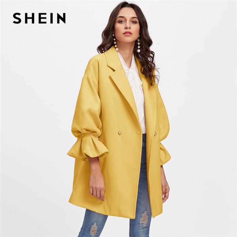 Шеин желтый Офисные женские туфли Элегантные заниженной линией плеч жемчужина подробно рябить манжеты Highstreet пальто осень Для женщин миним...