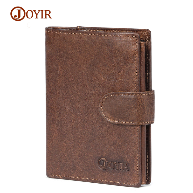 JOYIR Genuine Leather Men Wallets Vintage RFID Short Wallet Male Card Holder Hasp Cow Le ...