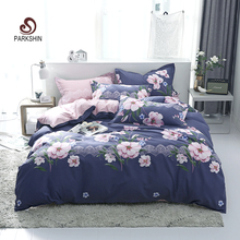 ParkShin Flowers Luxury Bedding Set Women Bed Cover Single Double Size Bedclothes Flat Sheet Bedspread Textiles Duvet