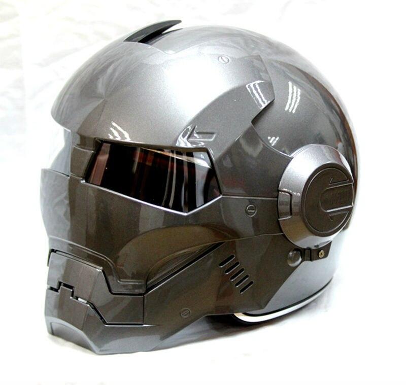 Frete grátis 2015 hot Cinza Homem De Ferro IRONMAN MASEI capacete da motocicleta metade capacete aberto da cara do capacete casque motocross 610 M L XL