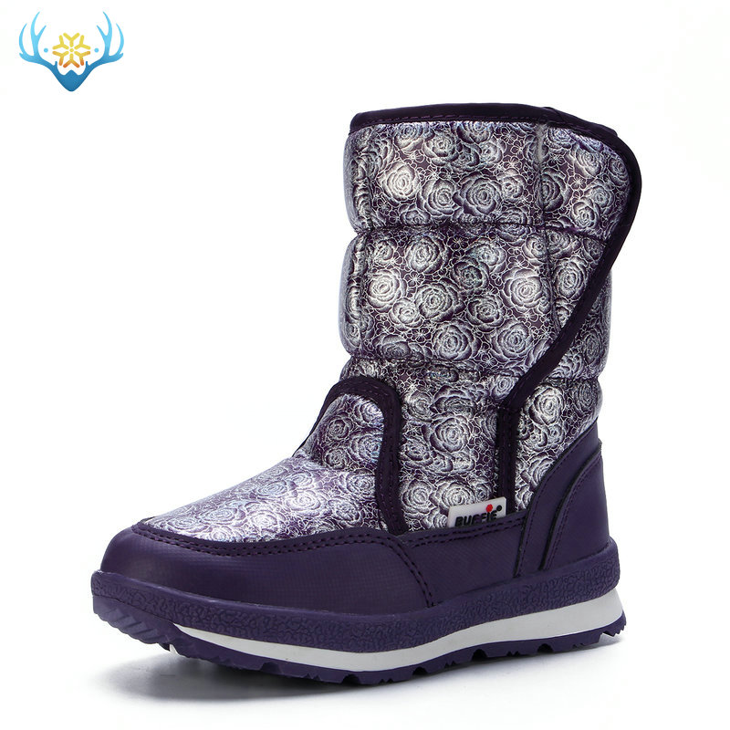 Winter Warm Snow Boot Children Shoes Synthetic Plush Soft Fur 2019 Style Strong Sole Thick Upper Easy Wear Purple Free Shipping