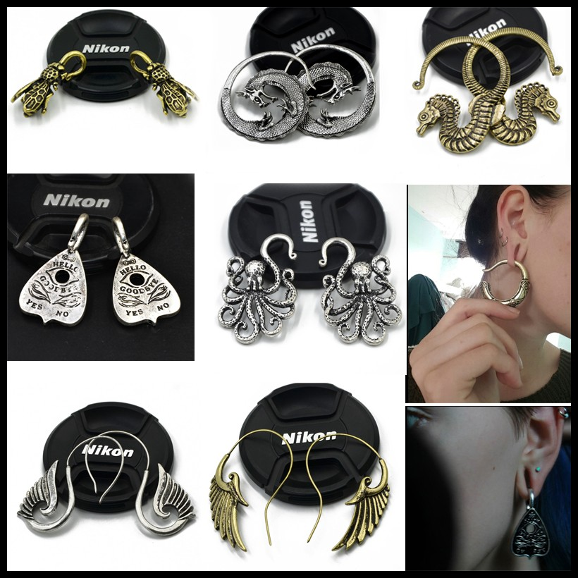 New Fashion Tribal Brass Dragon,Seahorse,Snake OUIJA Earrings Hoop Ear Taper Plug Stretcher Ear Weights Piercing Body Jewelry stylish left ear snake style decorative earrings