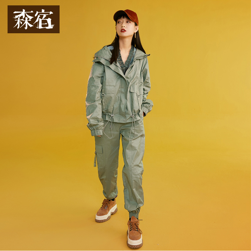 Women 2019 Spring Stylish Women Zipper Suits Hooded Drawstring Casual Female Set Solid Short Jackets with
