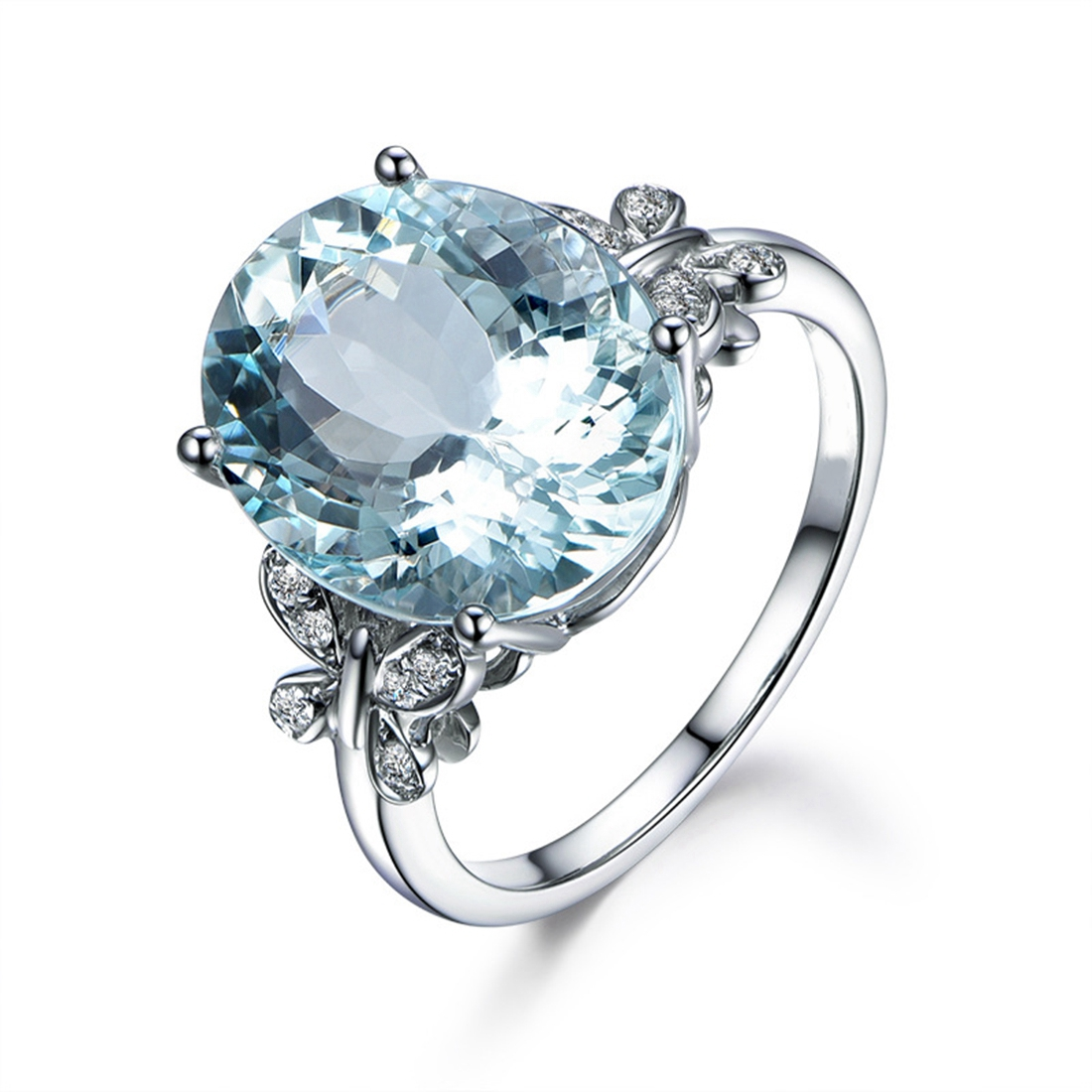 Большой синий камень Серебряная бабочка Кольца для Для женщин модные свадебные Обручение ювелирные изделия