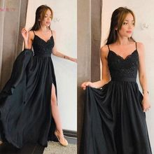 Black Evening Dresses 2019 New Satin Robe Soiree Elegant Floor Length Sexy Lace Spaghetti Strap Split V Neck Formal Prom Gowns цена и фото