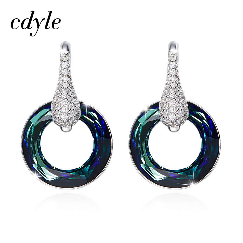 Cdyle Crystals from Swarovski Women Earrings S925 Sterling Silver Fashion Jewelry Austrian Rhinestone Trendy Blue Bijoux Chic цены
