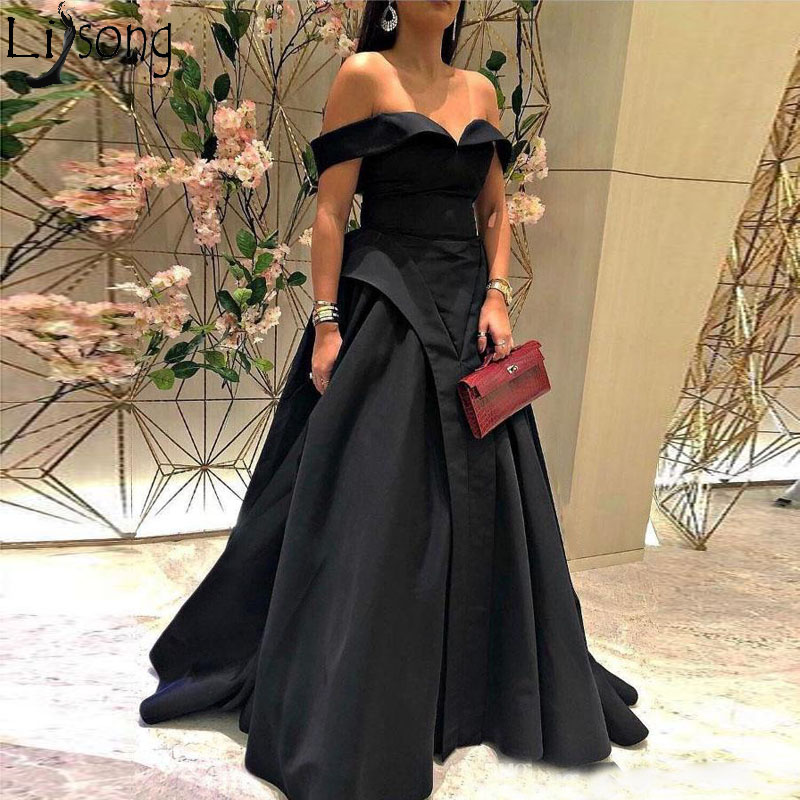 2018 A-Line   Prom     Dresses   with Off Shoulder V Neck Sleeveless Floor Length Simple Elegant Party Evening   Dress   Robe de soiree
