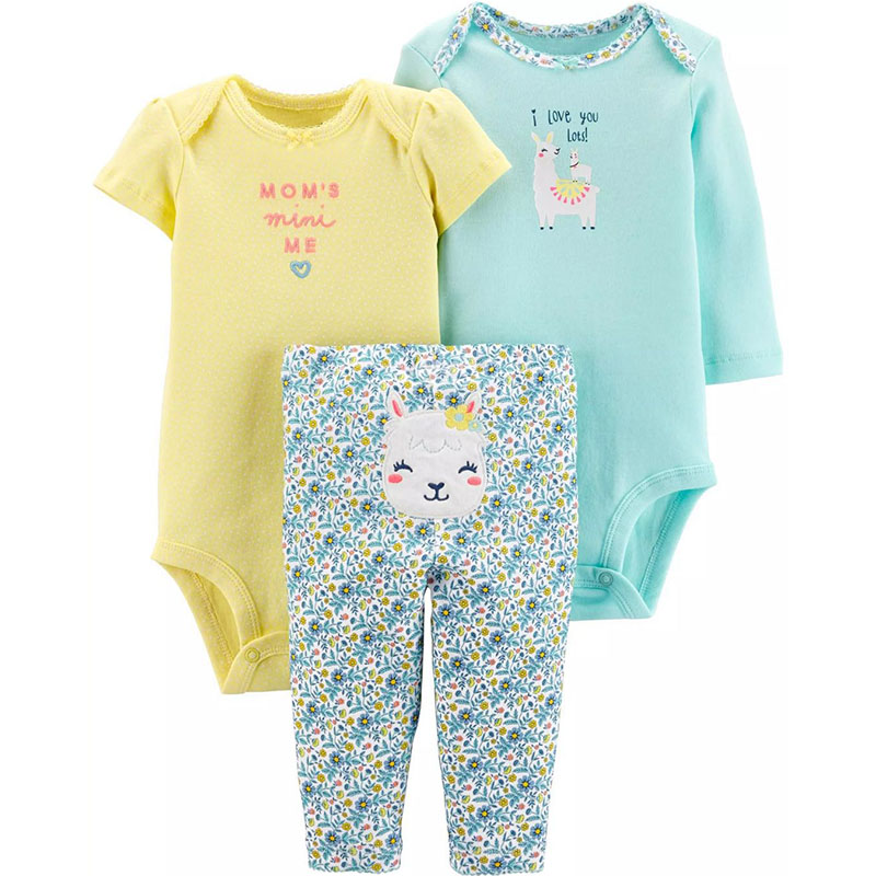 3pcs Baby Girl Clothes Set Bodysuit Boy Clothing Set Cute Sheep Newborn Cotton Autumn Baby Long Short Sleeve Bodysuits + Pant
