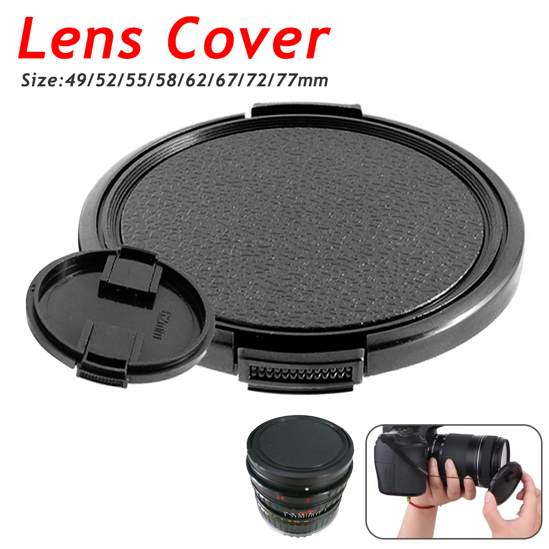 62mm Front Lens Centre Pinch Snap-On Hood Cap Cover For DSLR SLR Cameras