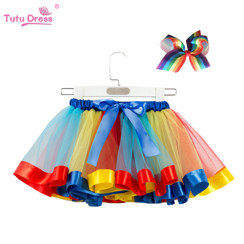 143e6acf6dd8 Fashion Sweet Toddler Kids Baby Girls Clothes Tutu Skirt Outfits Summer  Cute Children Tulle Skirt + Bow Rainbow Tutu Skirt-in Skirts from Mother &  Kids on ...