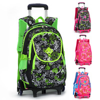 Lovely Printing Trolley School Bags for Girls Backpack kids Book Bag on Wheels Primary School Satchel Children Travel Luggage