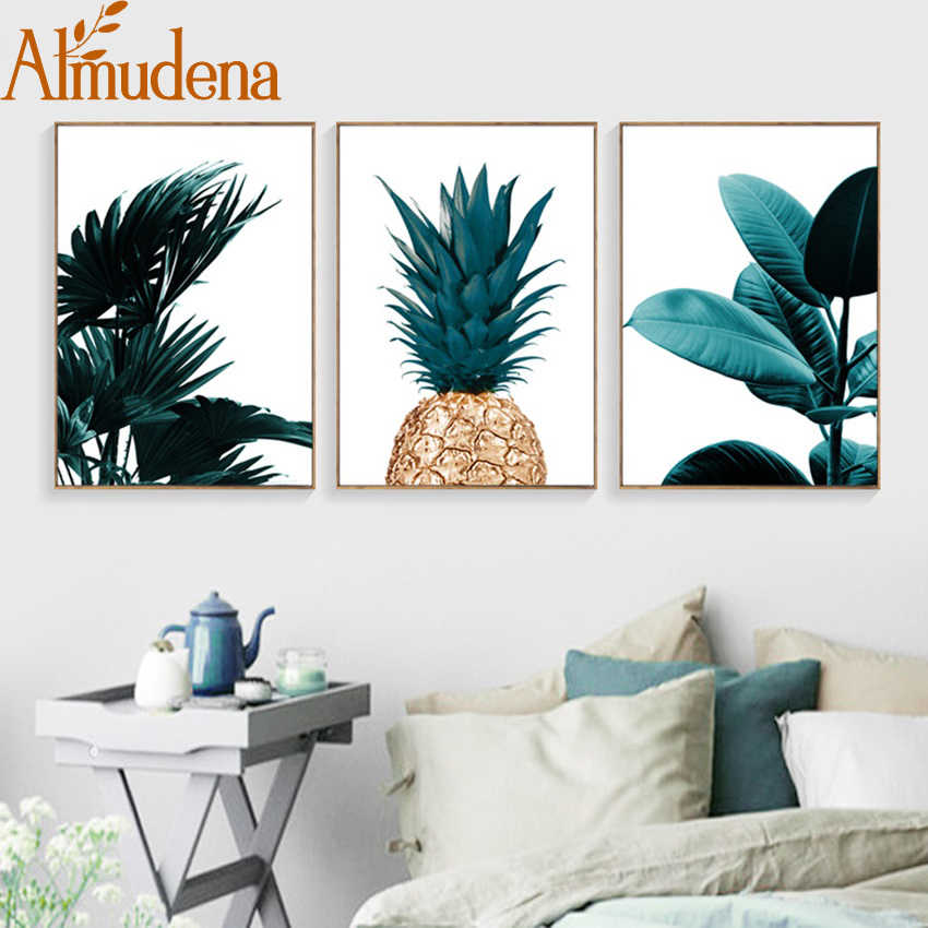 Nordic Pineapple Green Leaves Canvas Painting Wall Art Poster Home Decoration Posters And Prints Plant Pictures for Living Room