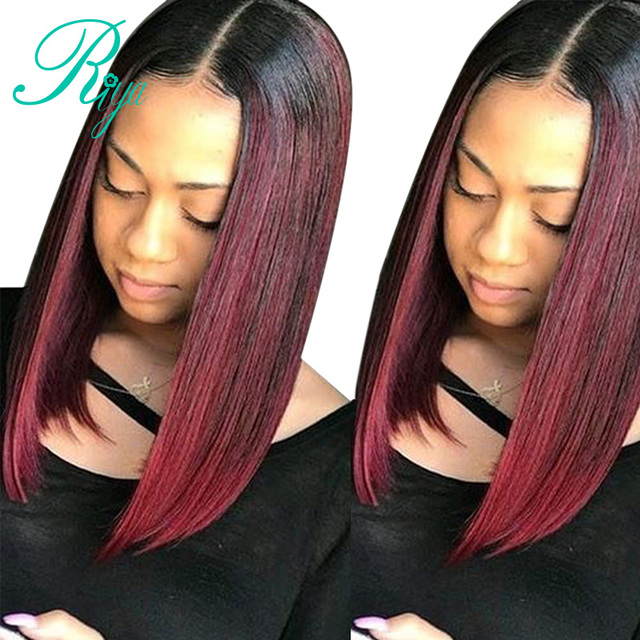 Ombre Color Black 1b 99j Burgundy Lace Front Human Hair Wigs For