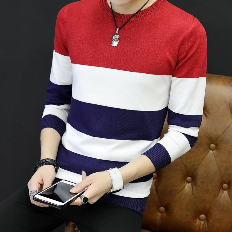 New 2020 Age Season Men Round Collar Thin Striped Sweater Sweater Trend