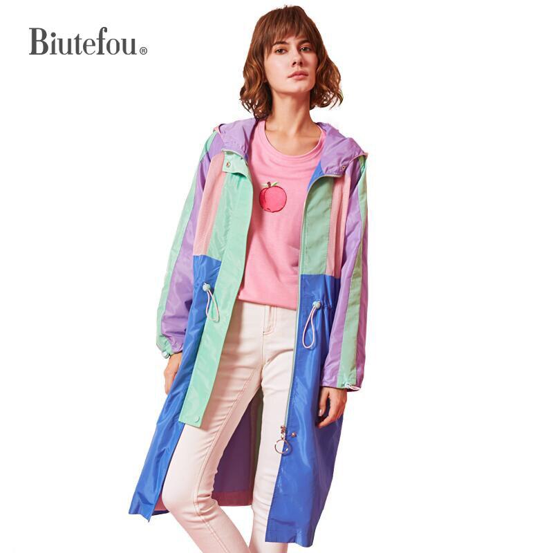 2019 Women fashion casual long coats spring adjustable waist graceful hooded coats