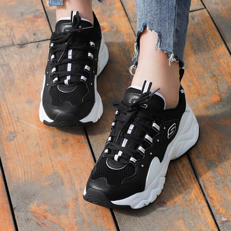 Skechers Women Shoes D'lites Fashion Platform Ladies Brand Chunky Causal Shoes Woman Walking Shoes Chaussure Femme 88888334 BKW