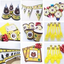 selling Disney Teddy Bear Kids Birthday Party Supplie Tablecloth Cup Plate Straw Napkin Cap Gift Bag Knife Fork Spoon plates high quality hh v2 1 car fault scanner detector elm327 obd2 bluetooth tester diagnostic 45g car detection tool
