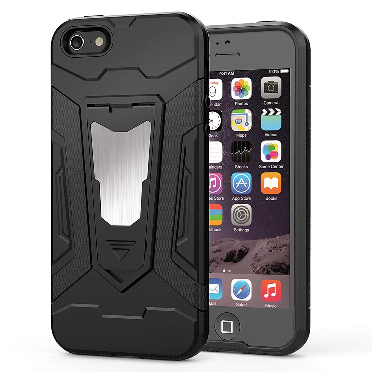 Yokata Hard Case Kickstand For <font><b>iphone</b></font> 7 6 6s 8 plus Cover For Black 3 in <font><b>1</b></font> Magnet Car Mount TPU PC Coque For <font><b>iphone</b></font> X <font><b>5</b></font> 5s Se image