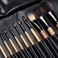 Frete grátis!! 15 pcs Macio Cabelo Sintético compõem kit ferramentas Cosméticos Maquiagem Pincel Preto Define com Capa De Couro