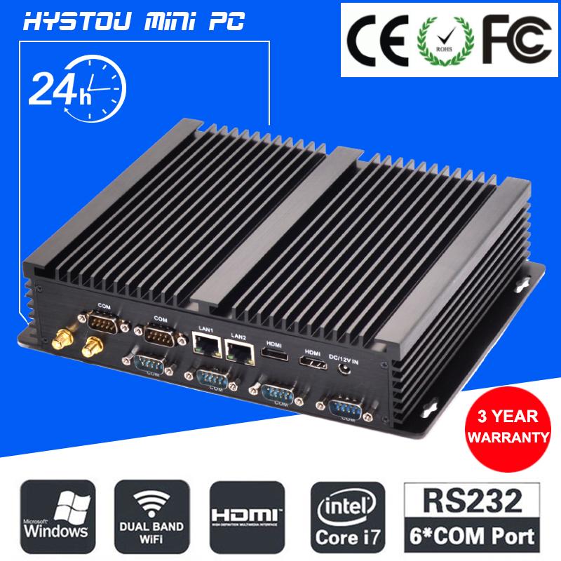 Prix pour Fanless barebone mini pc core i7 5550u i5 4200u windows 10 robuste Cas ITX Industriel Embarqué Ordinateur 2 LAN HDMI 6 COM Nettop
