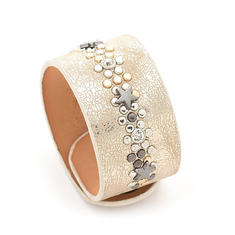 Punk Wide PU Leather Bracelets For Women Jewelry Fashion 2 Colors Cuff Bracelets & Bangles Pulseiras Feminina Bracelet New 2017