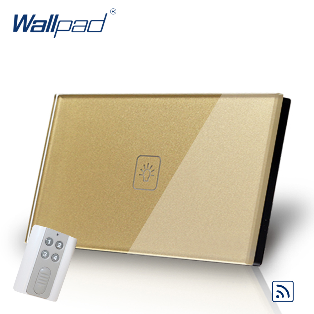 Remote 1 Gang 1 Way Smart Home 118*72mm AU US Wallpad Gold Glass Led Touch Switch with Remote Control Panel, Free Shipping eu us smart home remote touch switch 1 gang 1 way itead sonoff crystal glass panel touch switch touch switch wifi led backlight