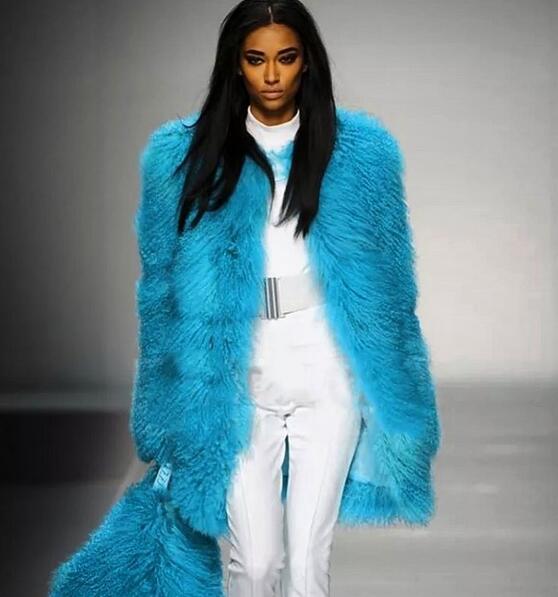 Longue Spécial blue D'agneau Vestes Manteau Fourrure Nouveau Piste 100 Mongolie Personnalisé 2017 Véritable Green 100 Réel rKIqyZr4