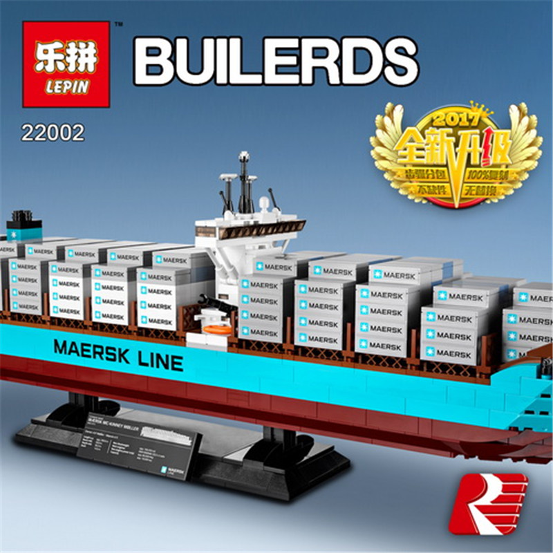 Lepin 22002 Technic Series 1518pcs The Maersk Cargo Container Ship Set Educational Building Blocks Bricks Model Toys Gifts 10241 lepin sets 22002 1518pcs technic series maersk cargo container ship model building kits blocks bricks educational toy gift 10241