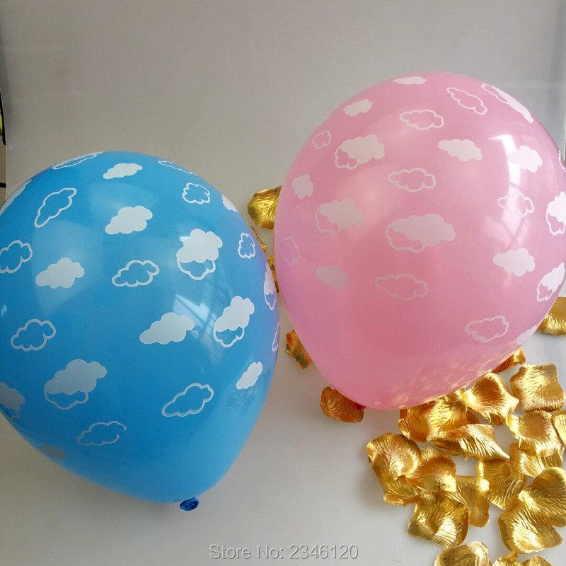 100pcs 12inch 2.8g round  Printed clouds pink blue balloon Party decorated birthday balloon children toy balloon