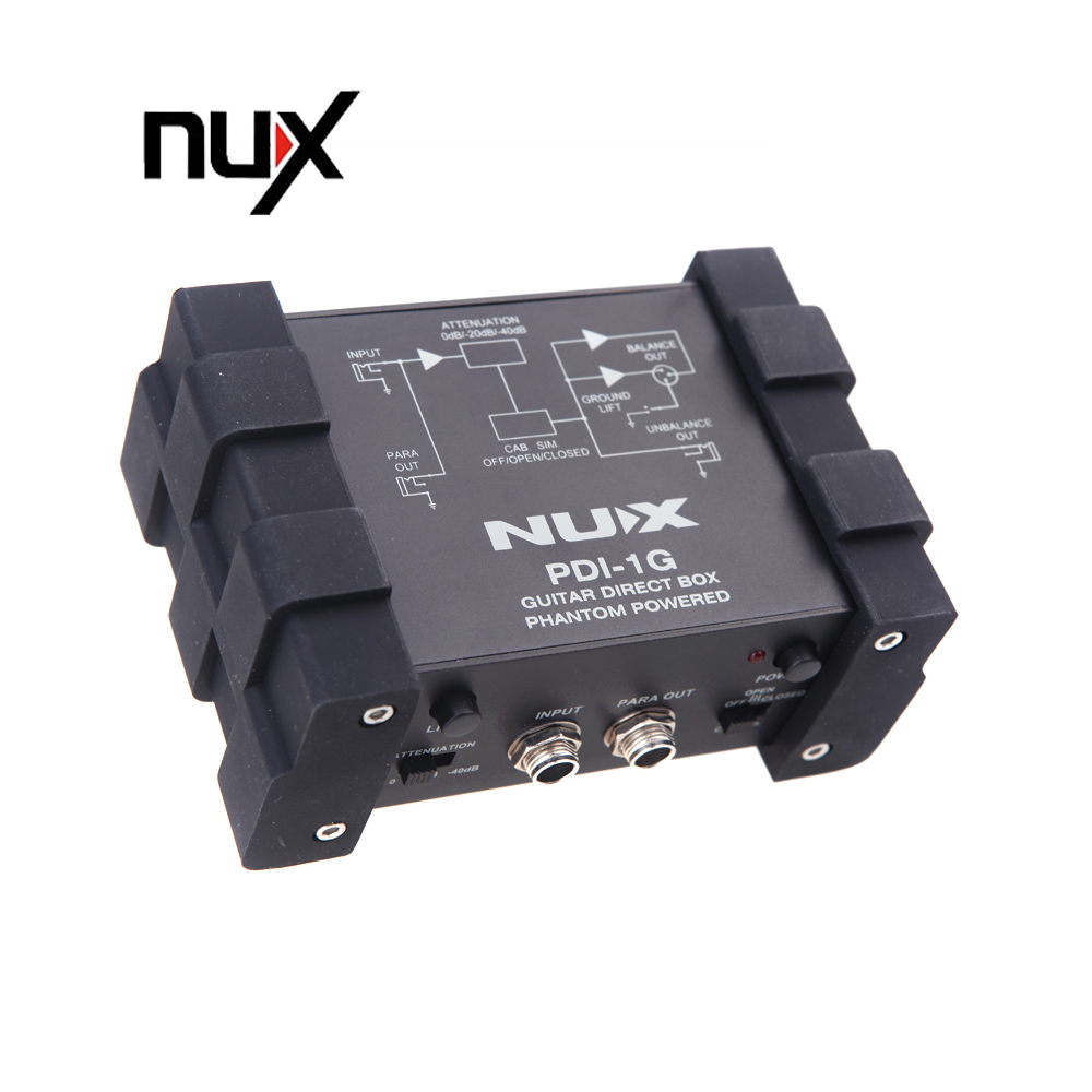 nux pdi 1g guitar direct injection phantom power box audio mixer para out in guitar parts. Black Bedroom Furniture Sets. Home Design Ideas