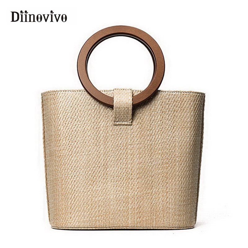 DIINOVIVO Bohemia Style Women's Summer Bags New 2018 Bag Shoulder Straw Bags Beach Bag INS Popular Simple Korean Style WHDV0019