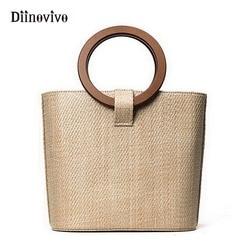 DIINOVIVO Bohemia Style Women's Summer Bags New 2018 Bag Shoulder Straw Bags Beach Bag INS Popular Simple Korean Style WHDV0019