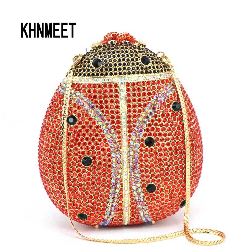 Animal beatles red crystal evening bag women party clutch bag diomand clutches Party purse sac pochette
