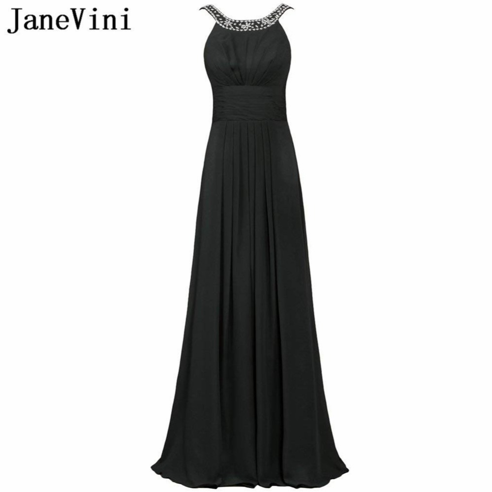 JaneVini Vestido Comprido Purple Beaded Long Bridesmaid Dresses 2020 Black Red Chiffon Women Plus Size Wedding Party Gowns Robes