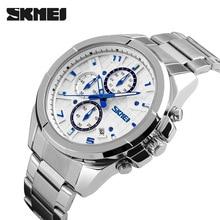 Skmei мужчины мода свободного покроя часы люксовый бренд кварцевые — часы Relogio Masculino мужская нержавеющей стали 50 м водонепроницаемый наручные часы