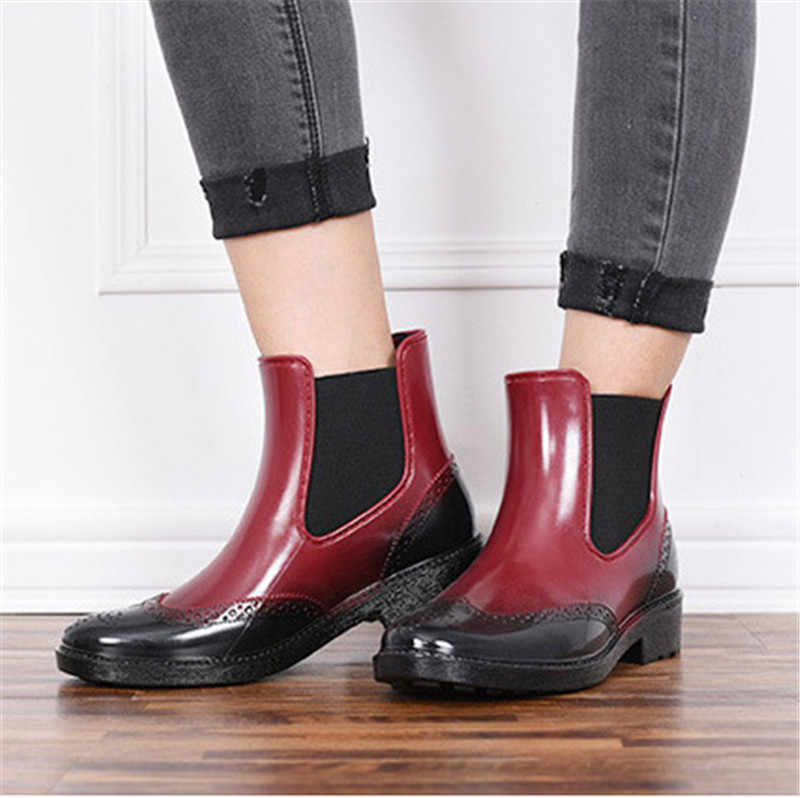 8f1fcc1180 Autumn Rubber Shoes Women Rain Boots Chelsea Boots Waterproof Ankle Boots  Girl Flat Platform boots Spring
