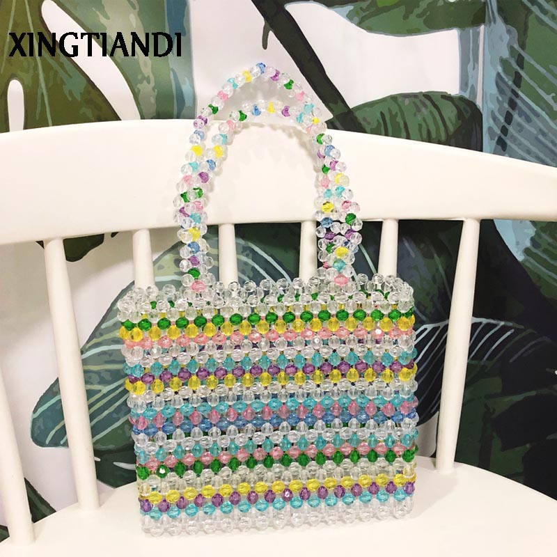 New Vintage women Pearl bag beaded handbag evening party bags handmade tote bag