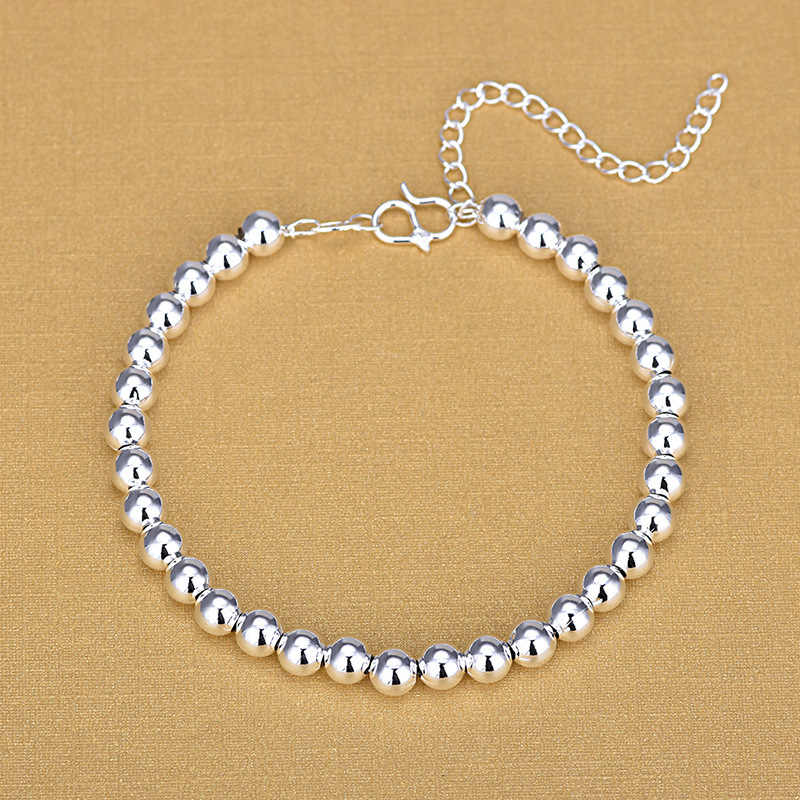 Vintage Women 925 Sterling Silver Smooth Strand Beads Bracelet Hand Made Jewelry Gifts